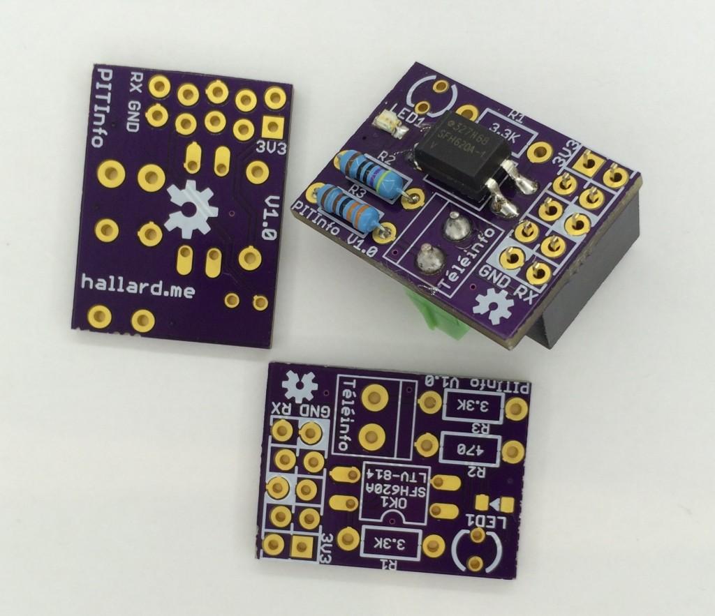 PiTinfo, Connecteur Téléinfo dessous et LED cms