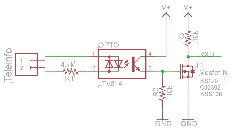 Schéma Final Téléinfo Transistor FET
