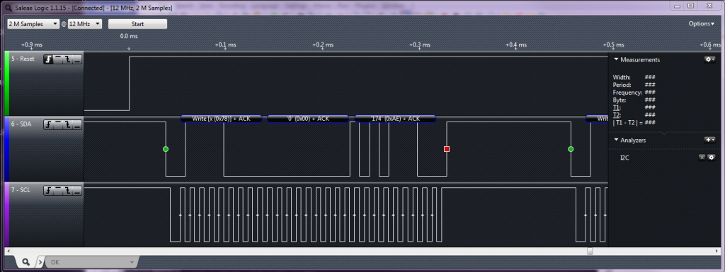 Logic Analyzer showing I2C signals