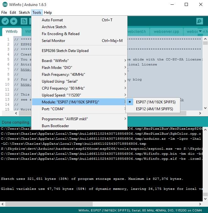 WifInfo choix du module dans l'IDE