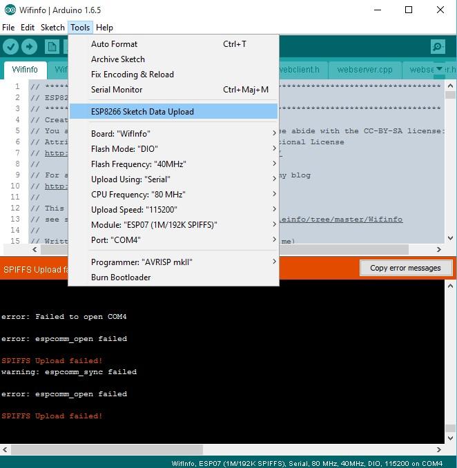 WifInfo génération SPIFFS via l'IDE